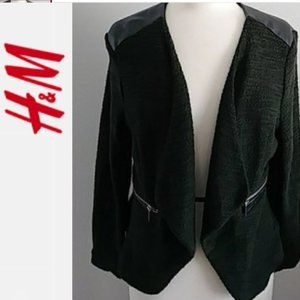H&M GREEN JACKET WITH FAUX LEATHER SHOULDERS Sz 4